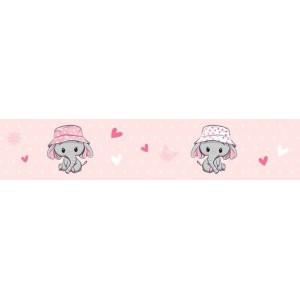 Elefántos bordűr, rózsaszín-fehér pöttyös, szíves