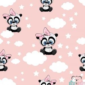 Pandamacis gyerektapéta, rózsaszín