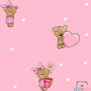 Maci szívvel, virággal, babatapéta, pink