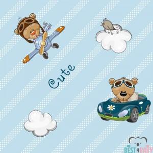 Autós, repülős macis gyerek tapéta