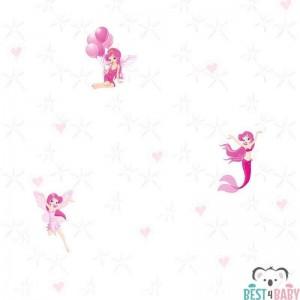 Pink tündérek lány tapéta, fehér