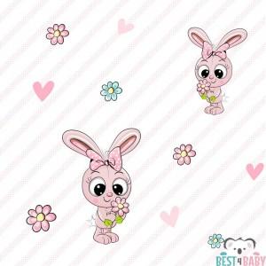 Rózsaszín, fehér csíkos Nyuszis babatapéta